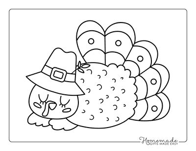 Turkey Coloring Pages Pilgrim Hat Sleeping Turkey