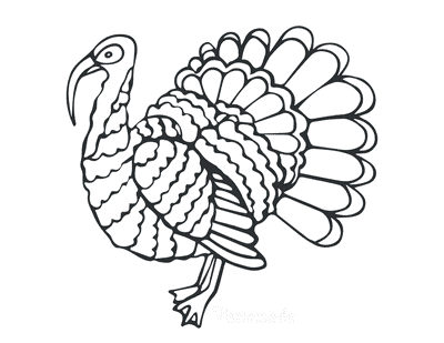 Turkey Coloring Pages Side View Simple