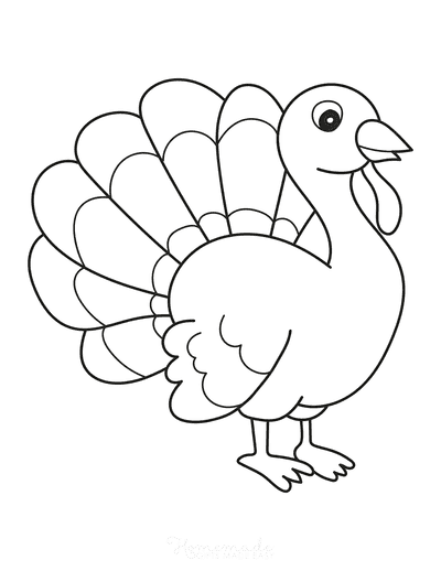 Turkey Coloring Pages Simple Turkey for Preschoolers