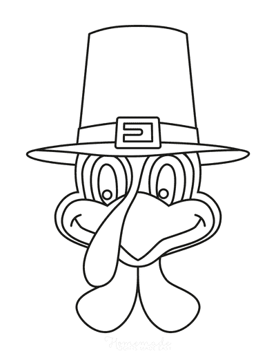 Turkey Coloring Pages Turkey Head Wearing Hat