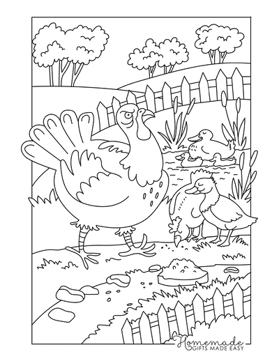 Turkey Coloring Pages Turkey on the Farm