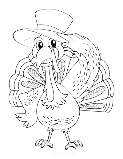 Turkey Coloring Pages Turkey Wearing Hat