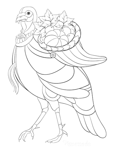 Turkey Coloring Pages Turkey With Cornucopia