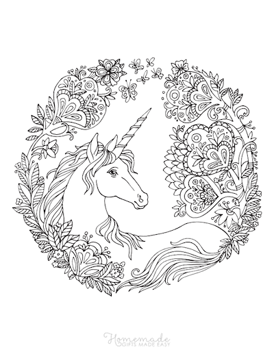 Unicorn Coloring Pages Adult Flower Border