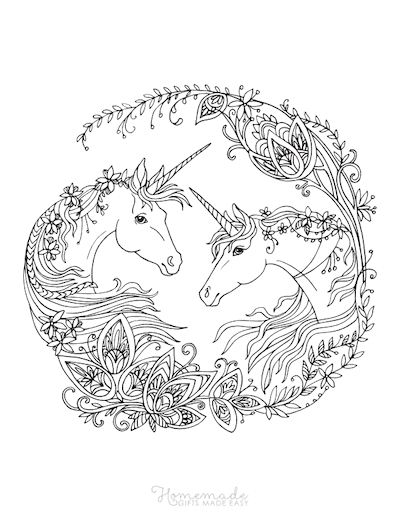 Unicorn Coloring Pages Adult Intricate Patterns Two Unicorns