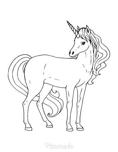 Unicorn Coloring Pages Adult Unicorn Flowing Mane