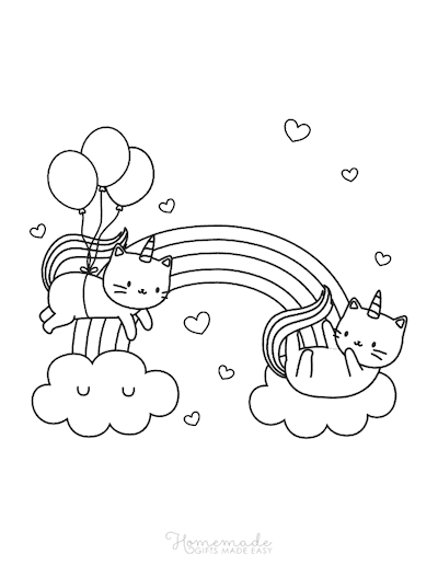 Unicorn Coloring Pages Caticorns Playing in the Clouds Rainbow