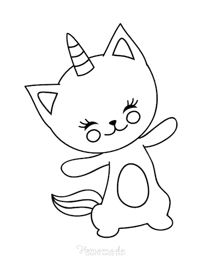 Unicorn Coloring Pages Cute Caticorn