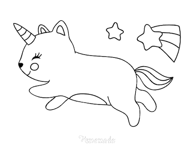 Unicorn Coloring Pages Cute Caticorn Shooting Star