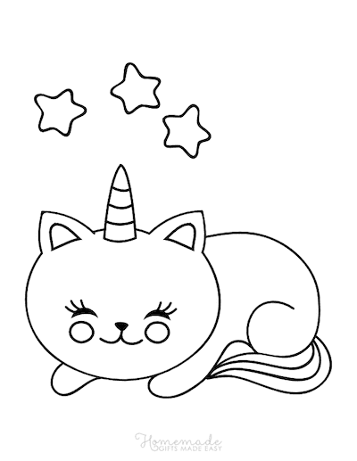 Unicorn Coloring Pages Cute Caticorn With Stars