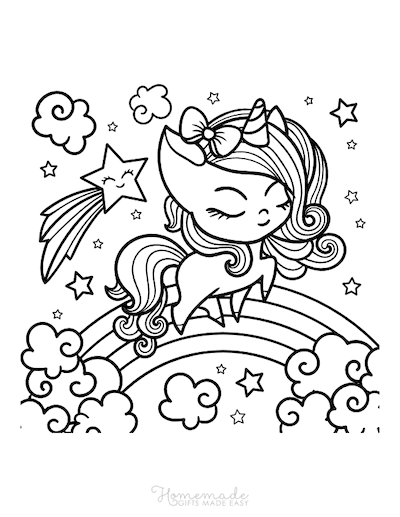 Unicorn Coloring Pages Cute Girl Unicorn Over Rainbow Clouds Star