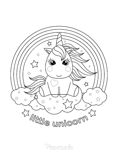 Unicorn Coloring Pages Cute Kawaii Little Unicorn Clouds Rainbow Stars