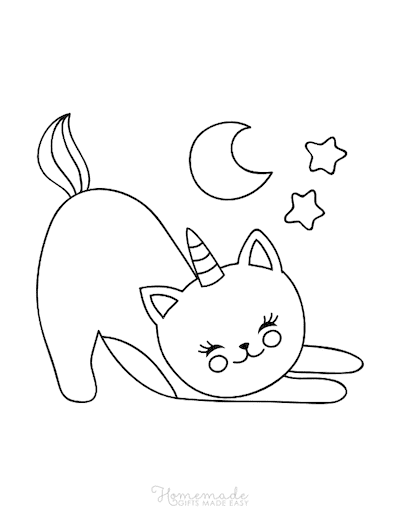 Unicorn Coloring Pages Cute Sleepy Caticorn