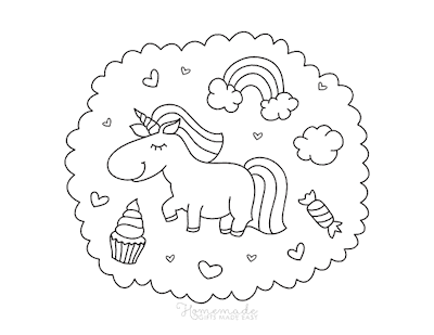 Unicorn Coloring Pages Cute Unicorn Cupcake Rainbows Hearts Candy