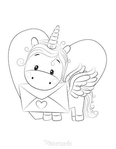Unicorn Coloring Pages Cute Unicorn Holding Love Letter