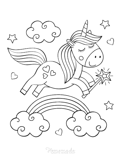 Unicorn Coloring Pages Cute Unicorn Holding Wand Over Rainbow