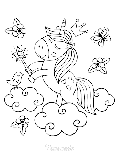 Unicorn Coloring Pages Cute Unicorn on Clouds Holding Wand