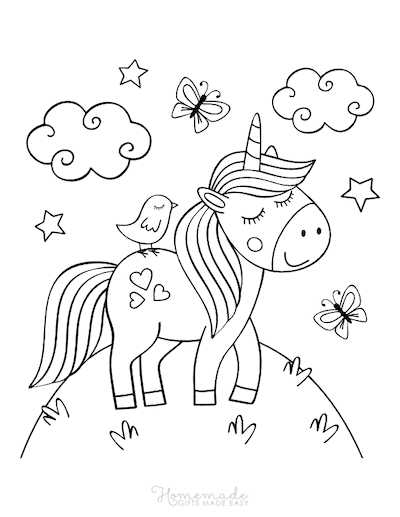 Unicorn Coloring Pages Cute Unicorn on Hill Top Butterflies Hearts