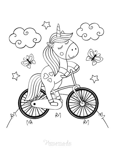 Unicorn Coloring Pages Cute Unicorn Riding Bicycle