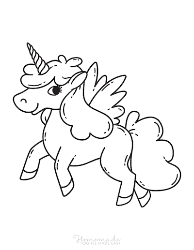 Unicorn Coloring Pages Cute Unicorn With Wings