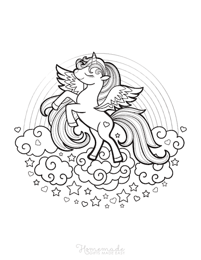 Unicorn Coloring Pages Cute Winged Unicorn on Clouds With Rainbow
