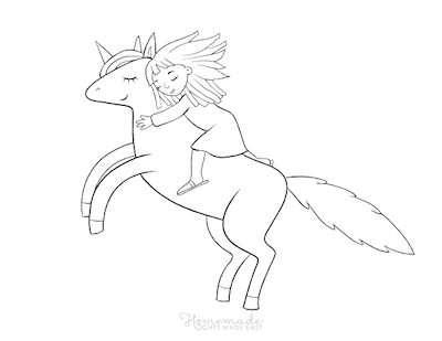 Unicorn Coloring Pages Girl Riding Unicorn