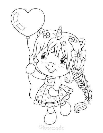 Unicorn Coloring Pages Girl Unicorn Horn Holding Balloon