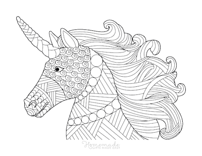 Unicorn Coloring Pages Intricate Pattern Unicorn Head