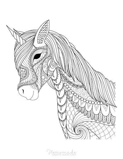 Unicorn Coloring Pages Intricate Patterned Unicorn Head