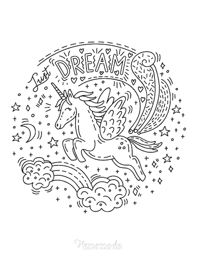 Unicorn Coloring Pages Just Dream Winged Unicorn Flying Over Rainbow