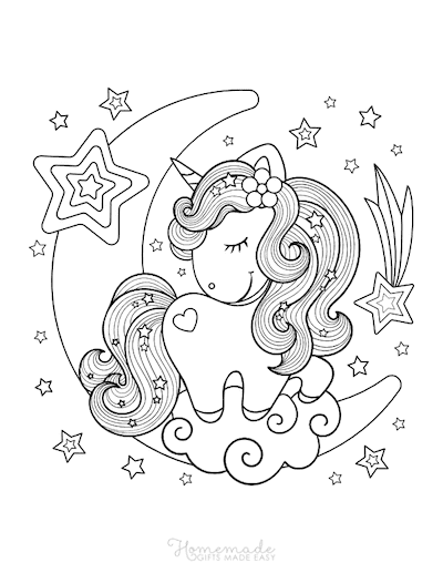 Unicorn Coloring Pages Kawaii Cute Baby Stars Moon Clouds