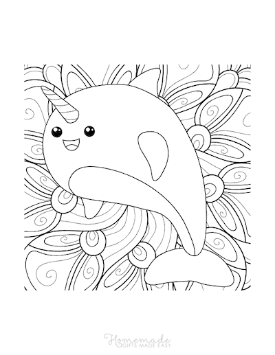 Unicorn Coloring Pages Kawaii Cute Narwhal