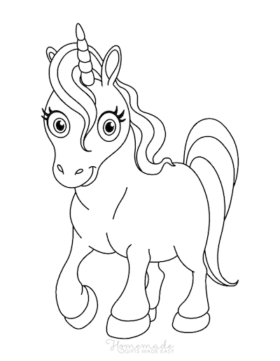 Unicorn Coloring Pages Large Eyes