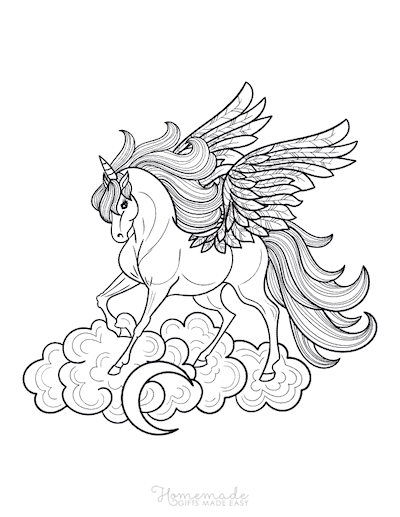 Unicorn Coloring Pages Majestic Male Winged Unicorn Flowing Mane on Cloud