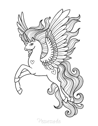 Unicorn Coloring Pages Majestic Unicorn Wings Outstretched Mane Flowing