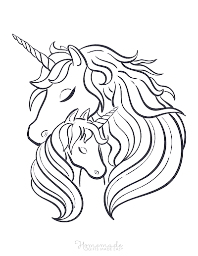 Unicorn Coloring Pages Mother and Baby Unicorn Heads Embrace