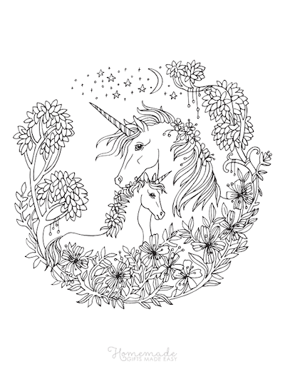 Unicorn Coloring Pages Mother With Baby Unicorn Floral Border