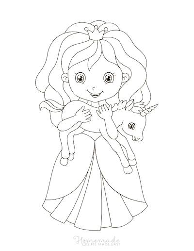 Unicorn Coloring Pages Princess Holding Baby Unicorn