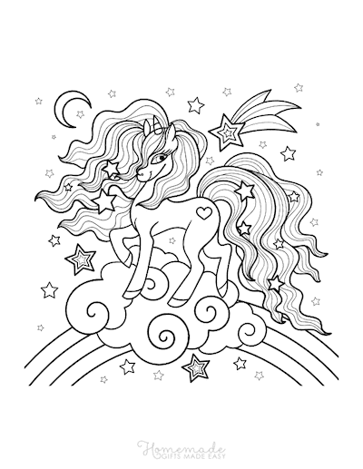 Unicorn Coloring Pages Rainbow Clouds Stars
