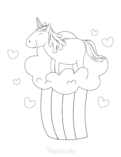 Unicorn Coloring Pages Simple Cute Unicorn on Rainbow