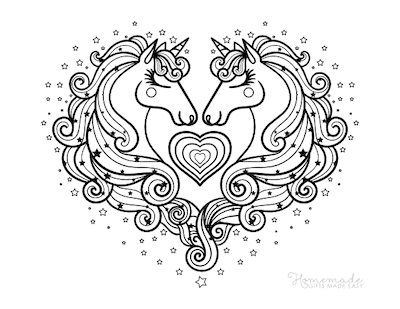 Unicorn Coloring Pages Two Unicorn Heads in Love Heart Shaped