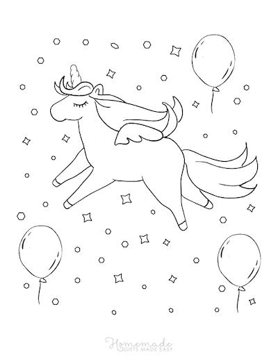 Unicorn Coloring Pages Unicorn Balloons Confetti