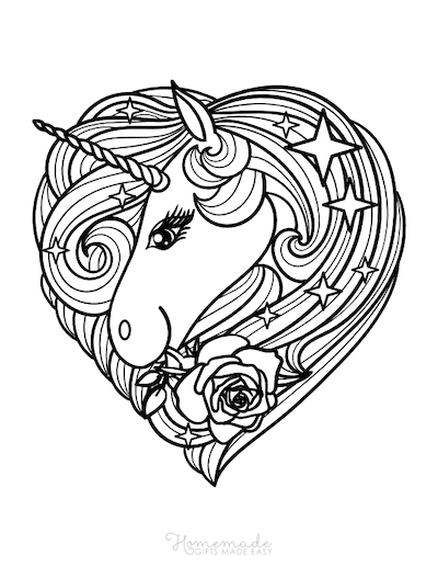 Unicorn Coloring Pages Unicorn Head Heart Shaped Mane With Roses