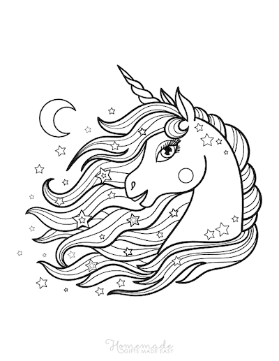 Unicorn Coloring Pages Unicorn Head Mane Flowing Stars