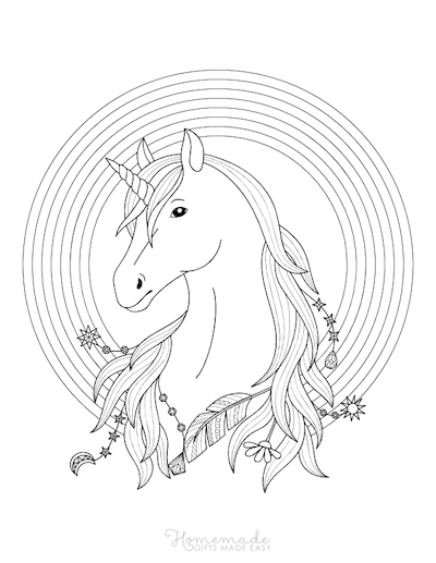 Unicorn Coloring Pages Unicorn Head Rainbow Border Feathers Jewels Flowers in Mane
