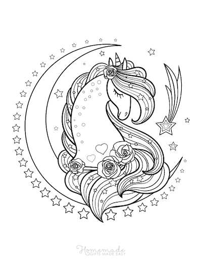 Unicorn Coloring Pages Unicorn Head With Flowers Moon Stars