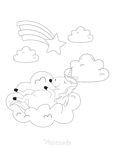 Unicorn Coloring Pages Unicorn Resting on Cloud Shooting Star