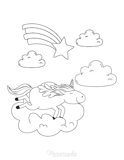 Unicorn Coloring Pages Unicorn Riding on Cloud Shooting Star