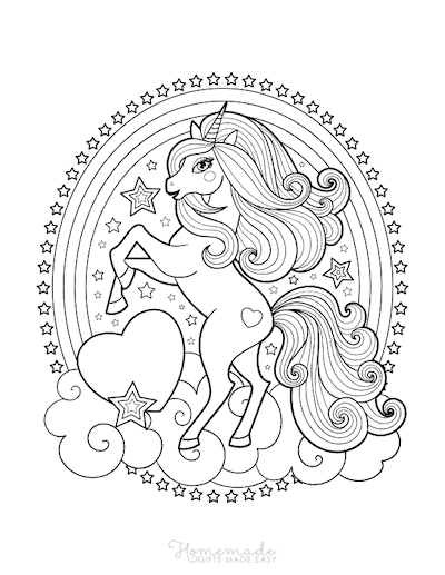 Unicorn Coloring Pages Unicorn Standing Clouds Rainbow Stars Hearts