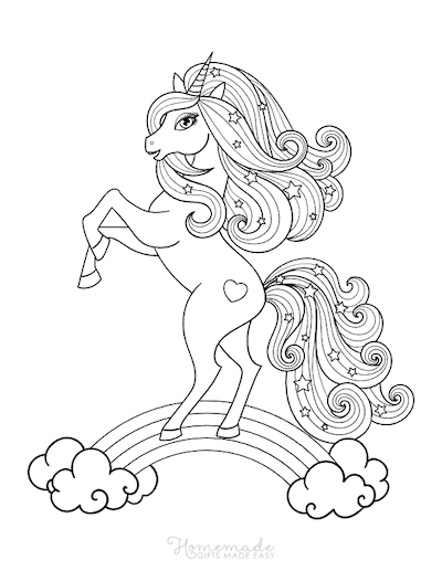 Unicorn Coloring Pages Unicorn Standing Flowing Mane With Stars Rainbow
